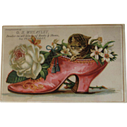 Cat in a Shoe Victorian Store Ad Trade Card