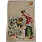 Cats Kids and Chaos - Salesman Sample Victorian Trade Card