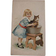 Sunshine Stoves Ad Trade Card Cat in the Bath
