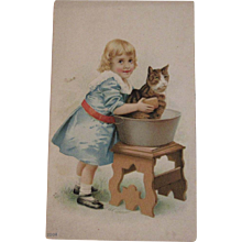 Sunshine Stoves Ad Trade Card Cat in the Bath - Red Tag Sale Item
