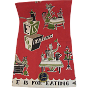 Never Used Linen Kitchen Towel E Is For Eating