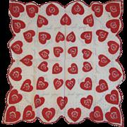 Valentine Hearts & Roses Hanky Handkerchief Hankie