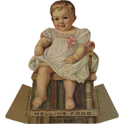 Mellin's Food Die Cut Baby Food Stand Up Ad Trade Card