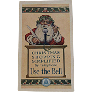 Santa Bell Telephone Trade Card Christmas Shopping Simplified