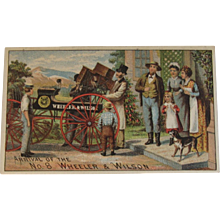 Wheeler & Wilson Sewing Machine Ad Trade Card Chromolithograph - Red Tag Sale Item