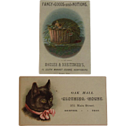 2 Victorian Kitty Cat Ad Trade Cards