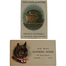 2 Victorian Kitty Cat Ad Trade Cards - Red Tag Sale Item