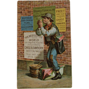 1880s Chase & Sunburn Coffee Hobo Posting Signs Advertising Trade Card