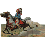 Lion Coffee Toy Series Indian on Pony Die Cut Scrap Trade Card Advertising