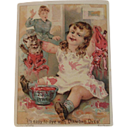 Diamond Dyes Cat and Doll Get Dyed by Little Girl Ad Trade Card