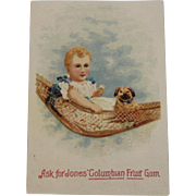 Jones Columbian Fruit Gum Trade Card Baby with Puppy in Hammock - Red Tag Sale Item