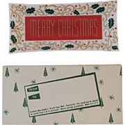 Houze Art Merry Christmas Glass Tray with Card Gift Mailing Box