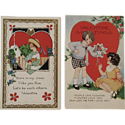 Two 1927 Valentine Embossed Postcards