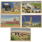 Five 1939 New York World's Fair Postcards