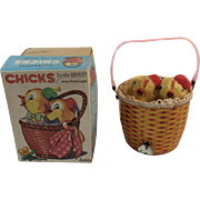 Inikata Japan Windup Chicks in the Basket Toy in Original Box