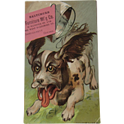 1881 Dog Trade Card Baltimore Furniture Manufacturing Co