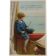 Lautz Soaps Boy with Sailboat Victorian Trade Card Chromolithograph