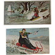 2 Children on Sleds Ad Trade Cards Persian Balm and Shoe Store