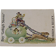 Victorian Easter Ad Trade Card Lehigh Stoves Easter Bunny Eggs and Chick