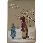 1888 Victorian Watercolor Merry Christmas