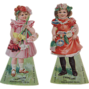 Enameline Diecut Paper Dolls Flower Girl Stove Polish Advertising