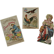 3 Wheeler & Wilson Sewing Machine Ad Trade Cards & Paper Doll