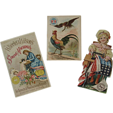 3 Wheeler & Wilson Sewing Machine Ad Trade Cards & Patriotic Paper Doll Olympia - Red Tag Sale Item
