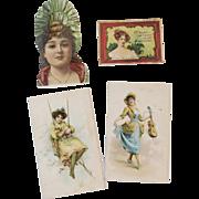 4 Tobacco Lady Trade Cards Honest Long Cut and Mogul Cigarettes