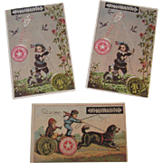 3 Willimantic Thread Dog Kite and Kids Trade Cards