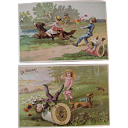 2 J&P Coats Dog and Kids Trade Cards Victorian Advertising