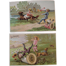 2 J&P Coats Dog and Kids Trade Cards Victorian Advertising - Red Tag Sale Item