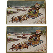 2 J&P Coats Dog Sled and Kids Trade Cards Victorian Advertising
