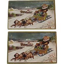 2 J&P Coats Dog Sled and Kids Trade Cards Victorian Sewing Thread Advertising - Red Tag Sale Item