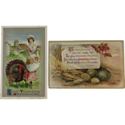1910 Winsch & 1911 Knopf Thanksgiving Postcards Autumn Vegetables Turkey