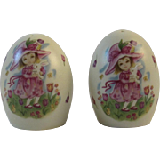 Lefton Easter Egg Salt & Pepper Shakers Girl and Bunny