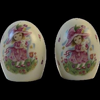Lefton Easter Egg Salt & Pepper Shakers Girl and Bunny