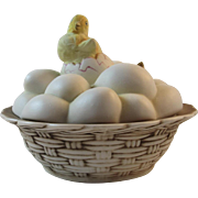 Lefton Easter Eggs Basket with Hatching Chicks Hand Painted Candy Dish