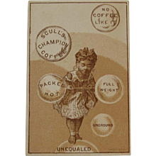 Scull's Champion Coffee Black Americana Victorian Advertising Trade Card - Red Tag Sale Item