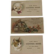 3 Victorian Cat Ad Trade Cards