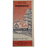 1930s Magic Aladdin Gasoline Road Map - Minnesota