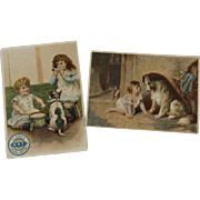 2 Dogs & Cats Children Victorian Trade Cards Clark's and Soapine