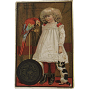 Willimantic Cat & Parrot & Girl Victorian Advertising Trade Card