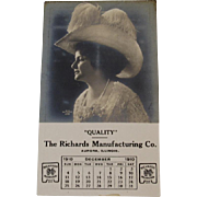 1910 RPPC Calendar Lady with Hat Richards Manufacturing Co Aurora, Illinois