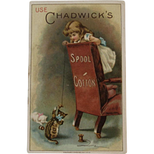 Kitty Cats Playing with Thread - Chadwick's Spool Cotton for Sewing Victorian Trade Card - Red Tag Sale Item