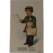 US Mail Boy Sunshine Stoves Victorian Trade Card