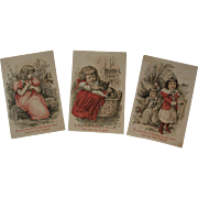 3 Nine O'Clock Washing Tea Girl with Cat Bird and Friend Victorian Trade Cards