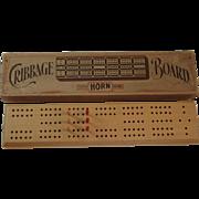 Horn McGrillis C-16 Cribbage Board 6 Peg in Original Box