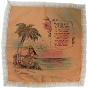 Hawaii Mother Motto Handkerchief Hanky Satin & Lace Mothers Day