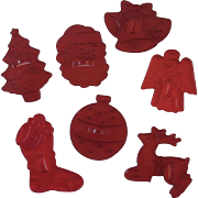 7 Christmas Red Plastic Cookie Cutters