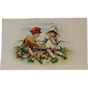 Children & Doll Picnic Victorian Trade Card for Arbuckle's Ariosa Coffee